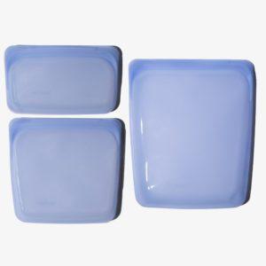 three silicone storage bags